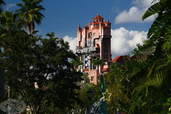 The Hollywood Tower Hotel looks as indigenous as the palm trees surrounding it.
