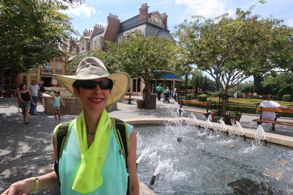 Amy in France (Epcot World Showcase) looking cool in her Frogg Togg® Chilly Sport™ Towel